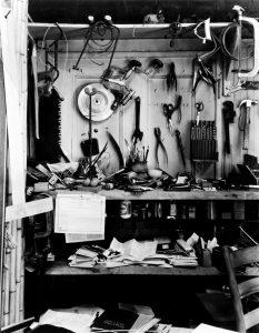 P1984.35.122; Abbott, Berenice (1898-1991); Noguchi's Studio; ca. 1947; Gelatin silver print; Amon Carter Museum, Fort Worth, Texas